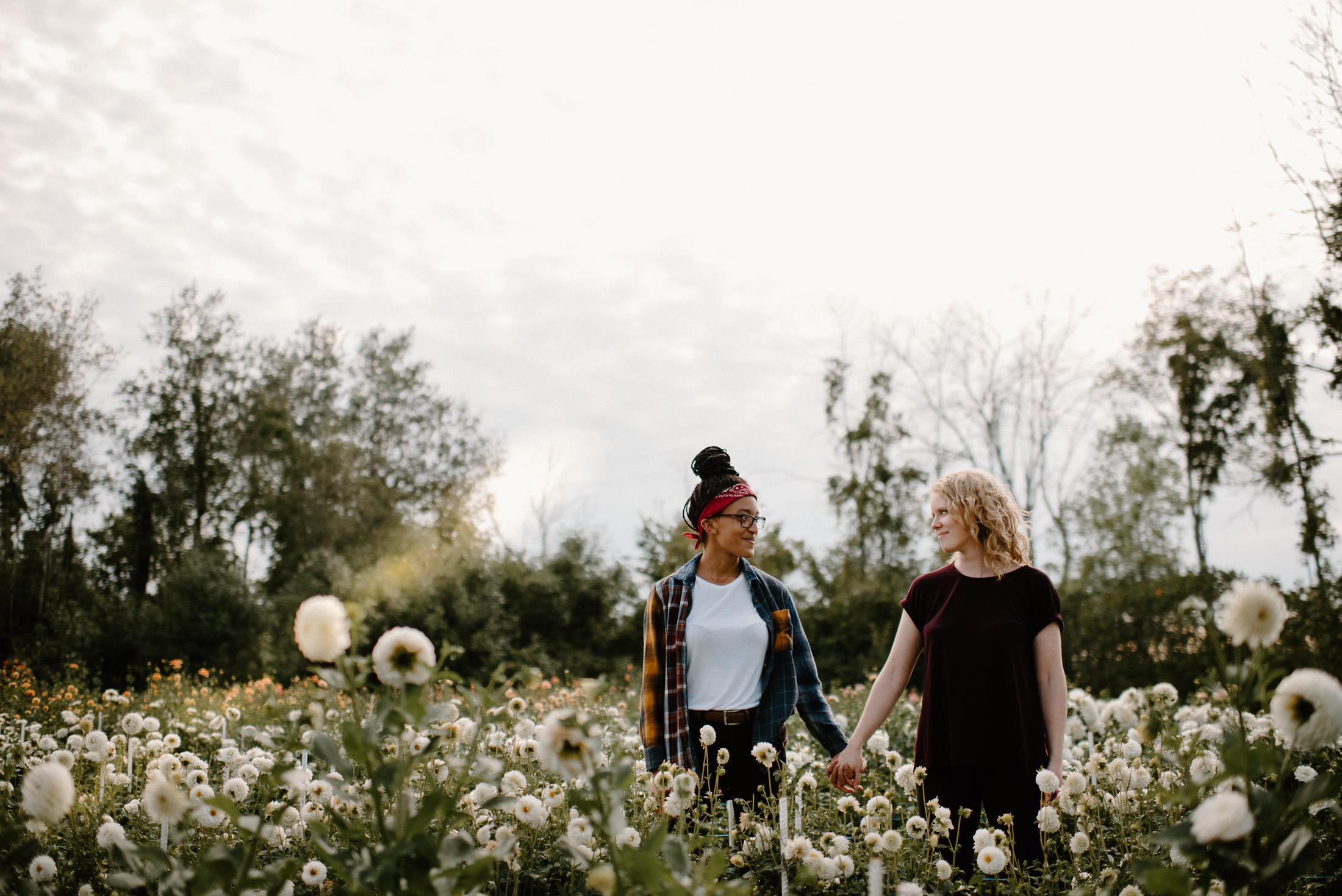 LGBTQ Couple Photo Shoot Flower Farm